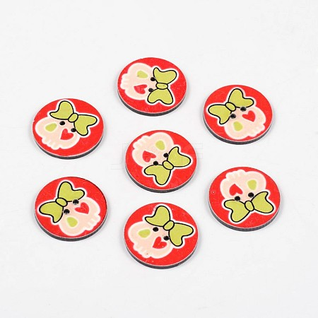 2-Hole Flat Round with Lovely Skull Pattern Acrylic ButtonsBUTT-F055-02D-1