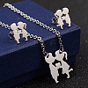 Couples 304 Stainless Steel Pendant Necklaces and Stud EarringsSJEW-D070-17P-1