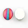 Colorful Pattern Glass Oval Flatback Cabochons for DIY ProjectsX-GGLA-R022-35x25-98-2
