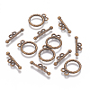 Tibetan Style Alloy Flat Round Toggle Clasps TIBE-2131-AB-NR-2