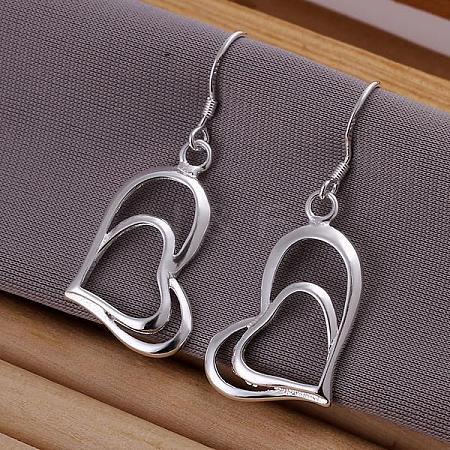 High Quality Brass Heart Cubic Zirconia Dangle EarringsEJEW-BB11817-1