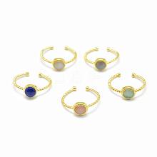 Natural Gemstone Cuff Finger Rings RJEW-I052-01G