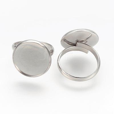 Adjustable 304 Stainless Steel Finger Rings ComponentsSTAS-L193-P-16mm-1
