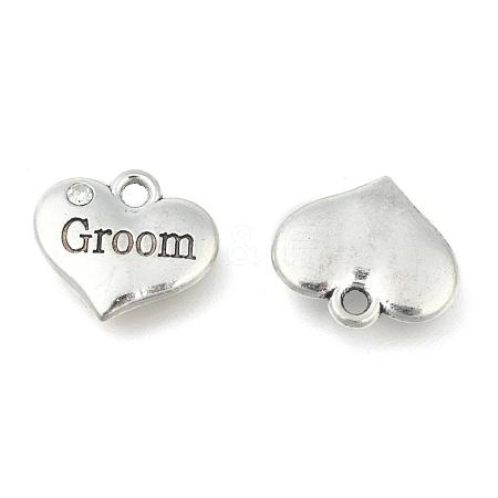 Wedding Theme Antique Silver Tone Tibetan Style Alloy Heart with Groom Rhinestone CharmsTIBEP-N005-20A-1