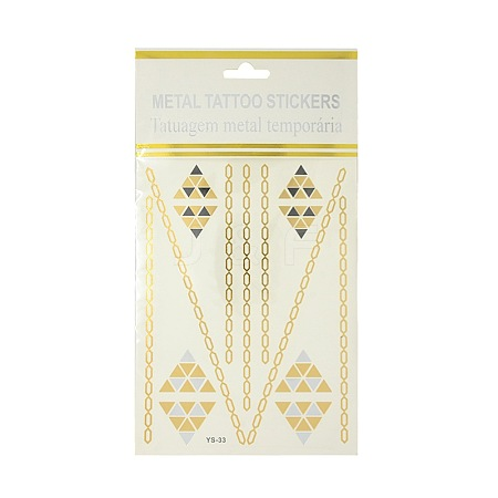 Cool Body Art Removable Mixed Triangle & Chain Shapes Fake Temporary Tattoos Metallic Paper StickersAJEW-O007-09-1