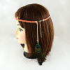 Woman's Dyed Feather Braided Suede Cord HeadbandsOHAR-R184-05-2