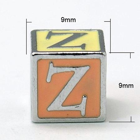 Alloy Enamel Large Hole Cube BeadsX-ENAM-C1491-Z-1