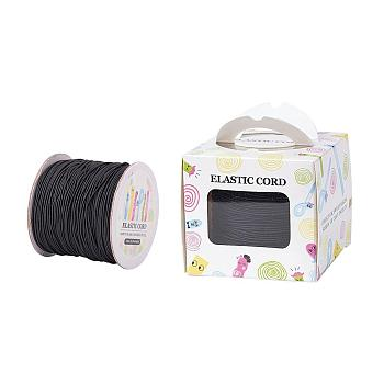 Elastic Cord, with Nylon Outside and Rubber Inside, Round, Black, 1mm; 109.36yards/roll(100m/roll)