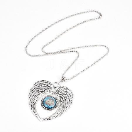 Zinc Alloy Angel Wing Heart Pendant NecklacesNJEW-G328-A03-1